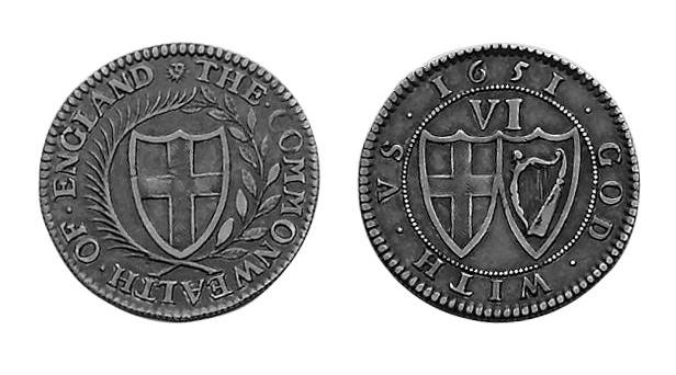 British Hammered, - Pattern Sixpence by Peter Blondeau, 1651. mm sun, grained edge.