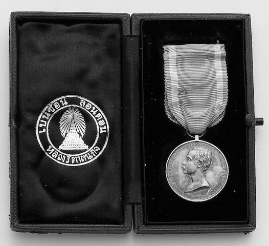 Thailand, Rama V, Silver Jubilee Medal 1893, silver. In original case of issue.