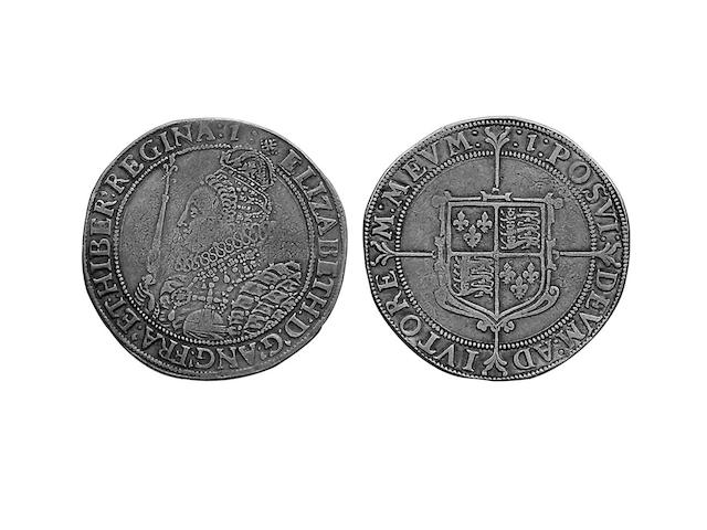 Elizabeth I (1558-1603), sixth issue Crown, the Queen in decorated dress left, holding sceptre and orb (S.2582).