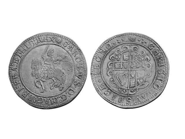 Charles I (1625-1649), Crown, Tower mint under Parliament, mm.sun, fore-shortened horse (S.2838).