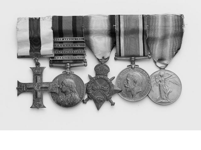 Gallantry Groups, A Great War M.C. group of six to Quarter Master and Lieutenant W.Dadd, late Royal West Kent Regiment, Military Cross, G.V.R.; Queen's South Africa 1899-1902, four bars, Cape Colony, Orange Free State, Transvaal, S.A.01 (4571 Cpl W.Dadd 2nd RL West Kent Regt); 1914 Star (GSSR-616 Q.M.Sjt W.Dadd R.W.Kent.R.)' British War and Victory Medal (Q.M. & Lieut W.Dadd); Defence Medal. With corresponding miniatures. Full size medals all mounted as worn except the Defence Medal, the miniatu
