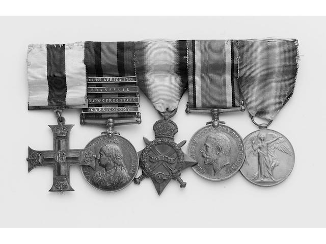 A Great War M.C. group of six to Quarter Master and Lieutenant W.Dadd, late Royal West Kent Regiment, Military Cross, G.V.R.; Queen's South Africa 1899-1902, four bars, Cape Colony, Orange Free State, Transvaal, S.A.01 (4571 Cpl W.Dadd 2nd RL West Kent Regt); 1914 Star (GSSR-616 Q.M.Sjt W.Dadd R.W.Kent.R.)' British War and Victory Medal (Q.M. & Lieut W.Dadd); Defence Medal. With corresponding miniatures. Full size medals all mounted as worn except the Defence Medal, the miniatures all mounted as worn.