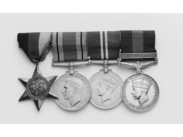 Four to Lieutenant W.Armstrong, Royal Engineers, 1939-1945 Star; Defence Medal; War Medal; General Service 11918-1962, one bar, Bomb & Mine Clearance 1945-49 (Lt W.Armstrong R.E.).