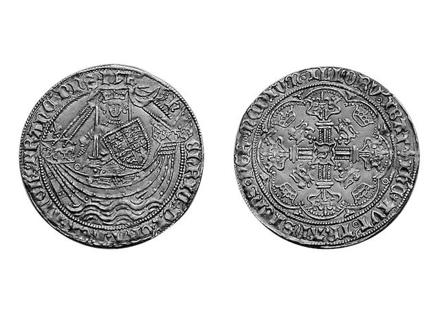 Henry VI (1422-1461), first reign annulet issue Noble of York, mm. lis, annulet by sword arm, lis above stern,