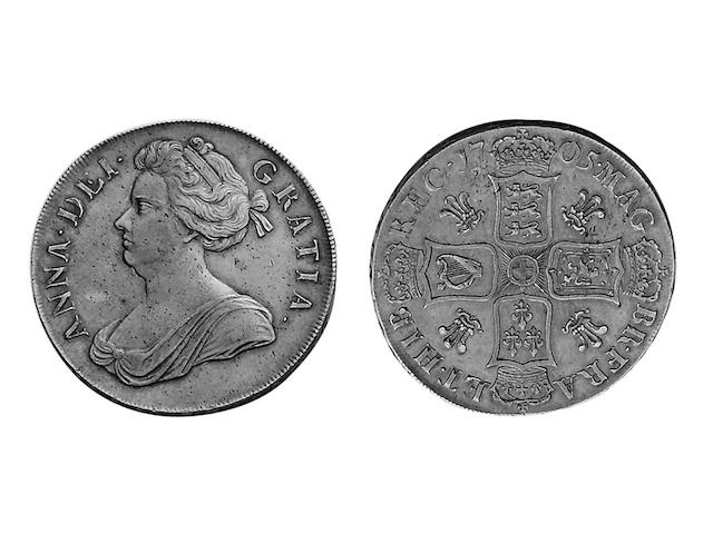 Named Collection 1, Anne (1702-1714),  Crown, 1705 QVINTO, plumes in angles (S.3577).