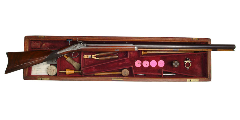 A Rare Cased American 60-Bore Percussion Target Rifle <b>By W. Billinghurst, Rochester, Circa 1860</b>  78.5 cm. barrel