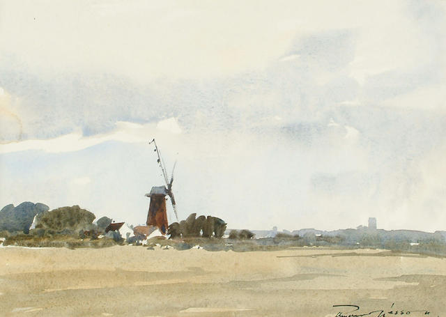 Edward Wesson (British, 1910-1983) Norfolk landscape with windmill 24 x 34 cm.