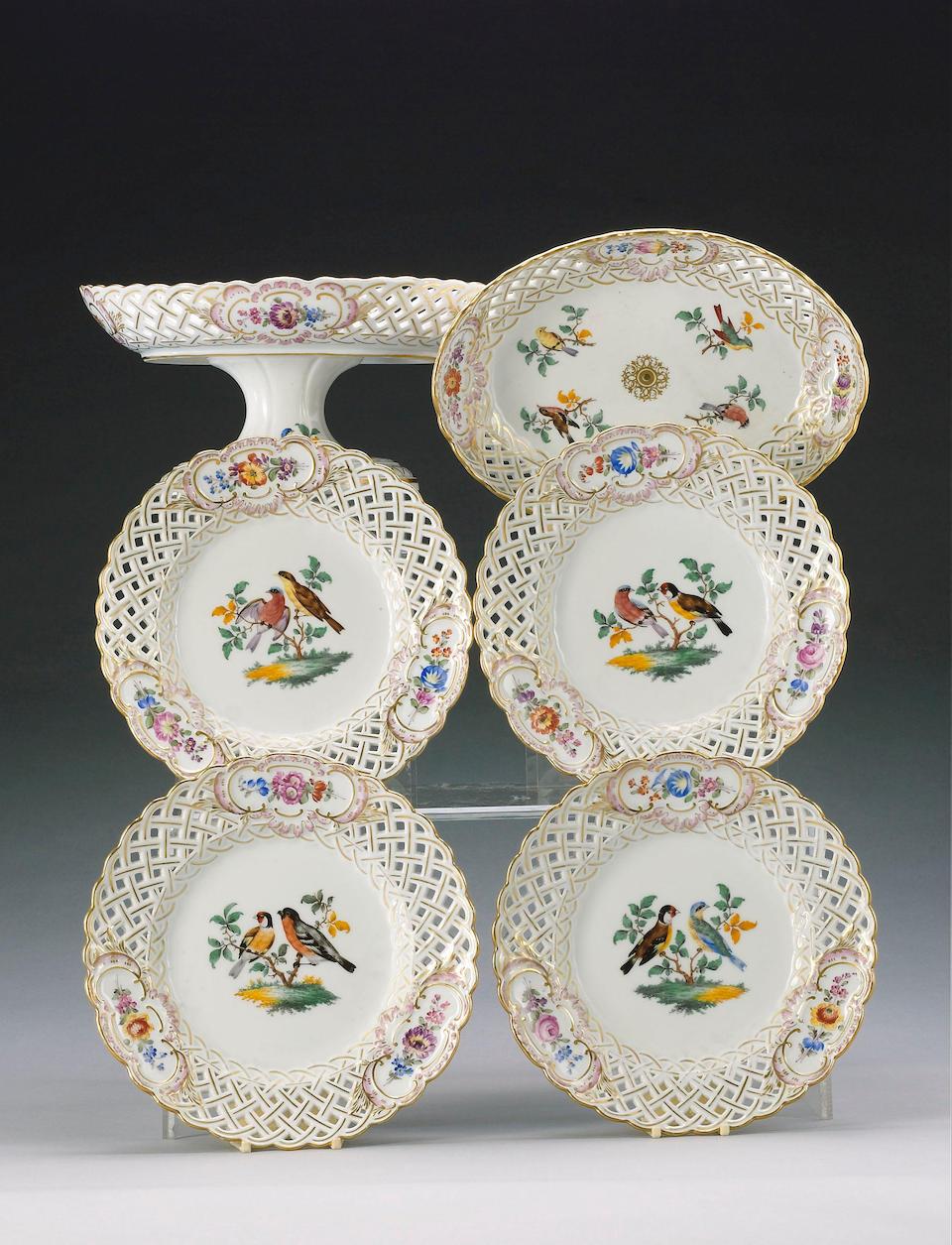 A Meissen pierced dessert service, circa 1830-40,