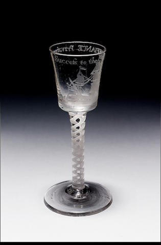 BRISTOL DEFIANCE PRIVATEER GLASS C.1757 THE BUCKET BOWL IS WHEEL ENGRAVED WITH A SAILING SHIP AND DI