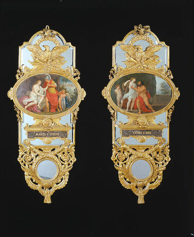 A set of four late 18th century carved giltwood Trumeau Mirrors, 100cm. high