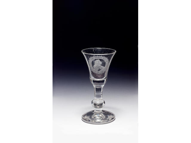 An important engraved portrait glass the glass circa 1730