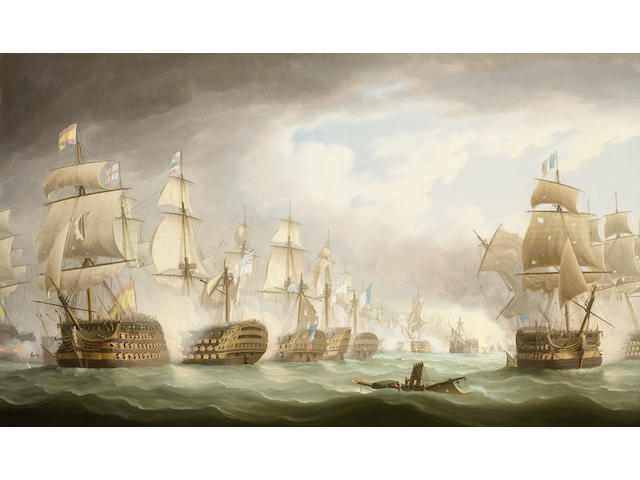 """Thomas Buttersworth (British, 1768-1842) H.M.S. """"Victory"""" heavily engaged at the battle of Trafalgar; 84 x 142cm. (33 x 56in.)"""