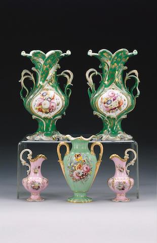 A pair of English porcelain vases, circa 1835,