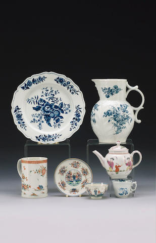 A Worcester 'Bouquets' cabbage leaf jug and a Worcester 'Pinecone' plate, circa 1775,