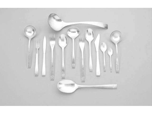 ALEX STYLES : a silver table service of flatware, by Garrard & Co. Ltd., predominately London 1972 -