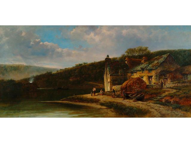 William Pitt (fl.1853-1890)  'A creek off the Dart, Devon' 60 x 120cm (23 1/2 x 47in)