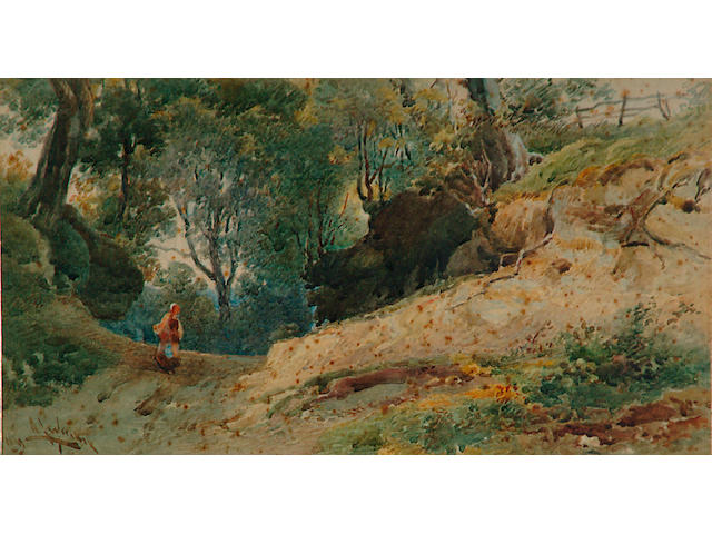 Alfred Leyman (1856-1933) 'A woman at the entrance to an old quarry'