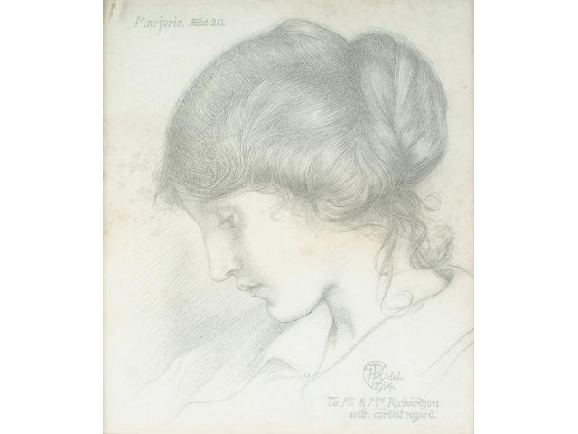 English School, Early 20th Century, Portrait of Marjorie Richardson 26.5 x 23 cm.