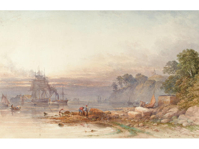 William Cook of Plymouth (British, fl.1870-1880) Anchored off the South Coast 38 x 58 cm.
