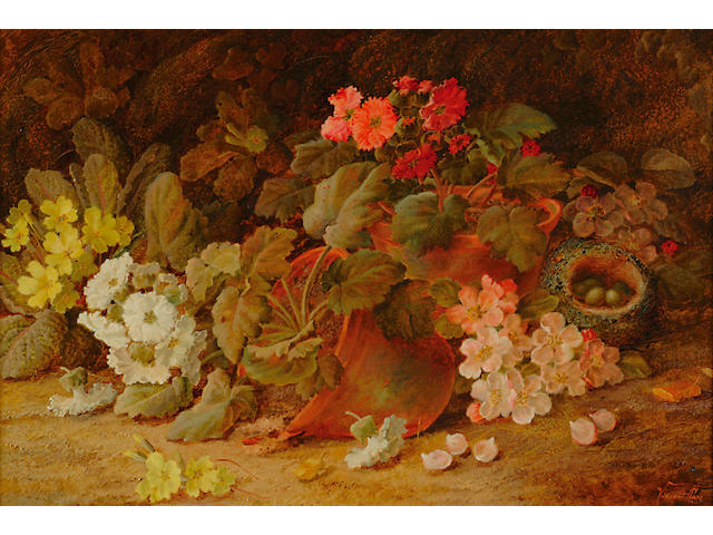 Vincent Clare (1855-1930) 'Potted polyanthus with a bird's nest and primroses' 40c60cm (15 3/4x23 1/2in)