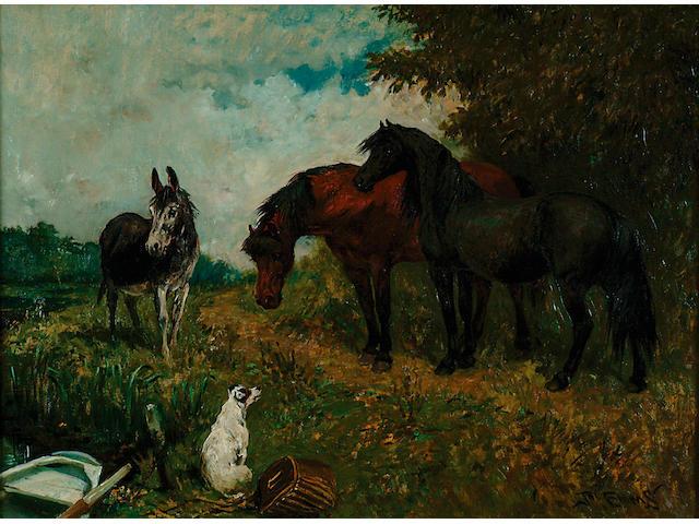 John Emms (1843-1912) 'Farmyard Friends' 51 x 69cm (20 x 27in)