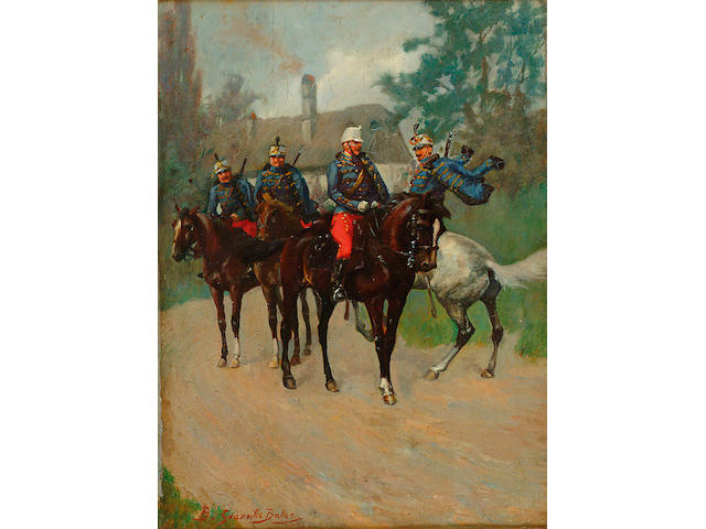 Col Bernard Granville Baker (exh.1914-1930) 'Hussars passing by on a road'Signed lower left, oil on panel,