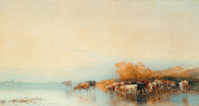 Thomas Francis Wainewright (19th Century) 'Cows in a stream'