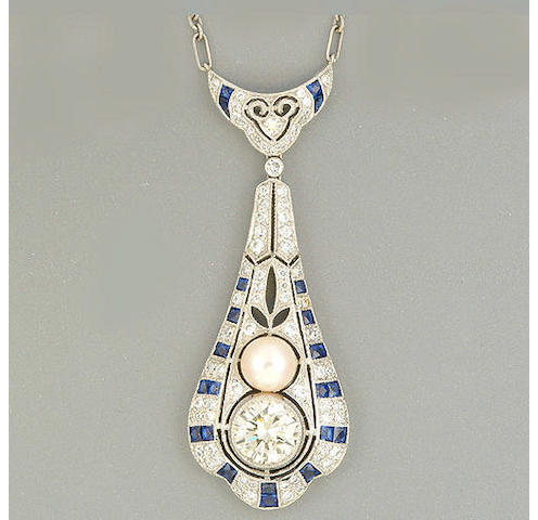 A diamond, sapphire and cultured pearl pendant