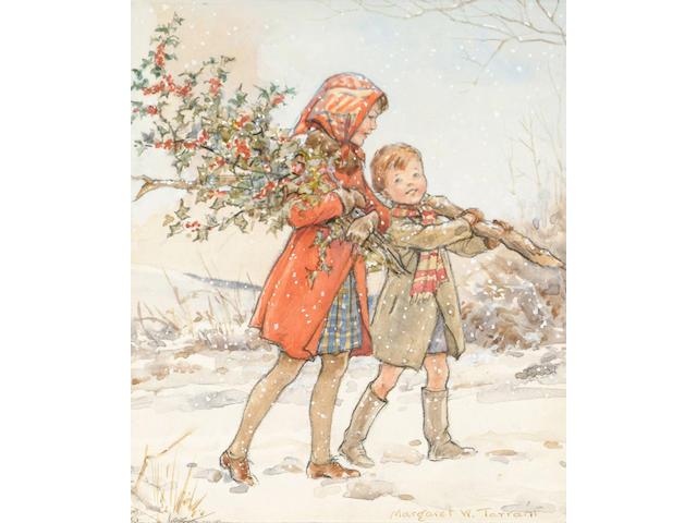 Margaret Winfred Tarrant (British, 1888-1959) White Christmas 15 x 12.5 cm, unframed.