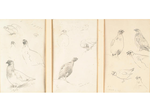 Archibald Thorburn (British, 1860-1935) Grouse; Plovers; Shoveler; Shelduck; Eiders; Scaup; Tufted duck; Pochard; Curlew; 16.5 x 10 cm, (15, within 5 frames).