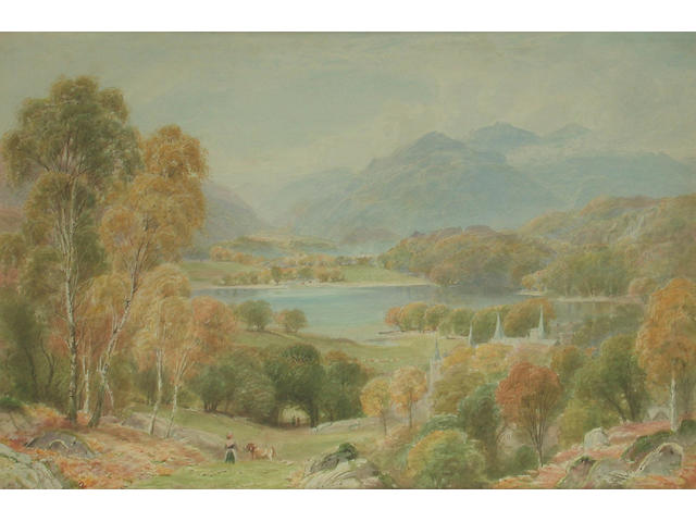 Ebenezer Wake Cook (British, 1843-1926) Loch Achray and Ben Venue, Perthshire 30.5 x 45.5 cm.