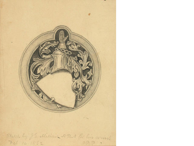 Sir John Everett Millais (British, 1829-1896) Sketch for a Coat of Arms 15 x 12.5 cm, all unframed, (3).