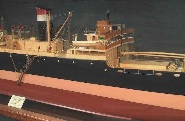 A Large Builder's Mirror Back Half Model of the SS TRADESMAN 1937