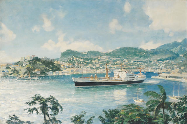STATESMAN at Grenada John Stobart 60x90 oil on canvas