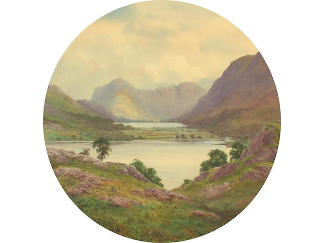 Edward H.Thompson (British, 1866-1949) Lake landscape 44.5 cm, tondo.