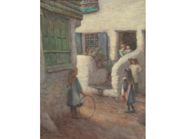 E. Louise Bradbury (British, exh.1899-1926) A game of hoops 31.8 x 24.2cm