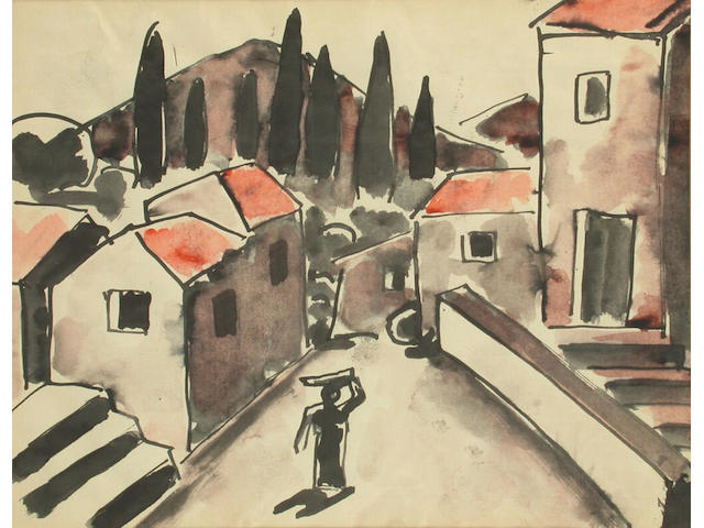 Josef Herman (British, 1911-1999) Greek Village