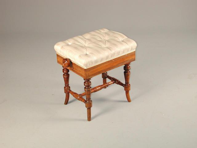 A Victorian rosewood piano stool 51 cms wide x 37cms deep x 49 cms high