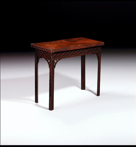 A George III mahogany concertina  action card table