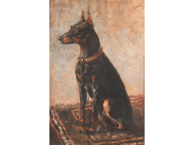 L.Cheriot A seated Doberman Pinscher 40.6 x 61cm