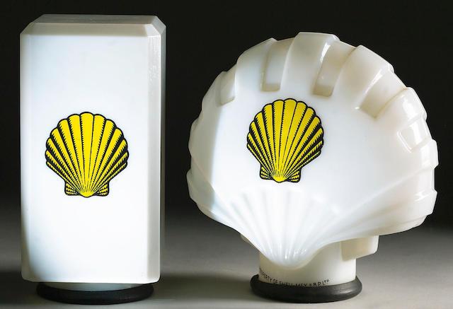 A small 'fat' Shell oil pump globe, registered design 1929,