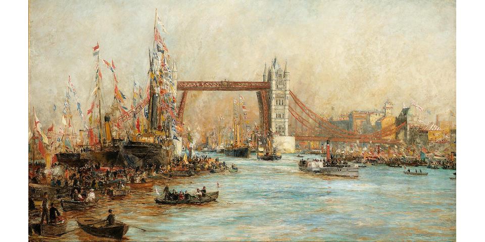 William Lionel Wyllie (British, 1851-1931) The Opening of Tower Bridge, 30th June 1894  78.7 x 134.6cm. (31 x 53in.)