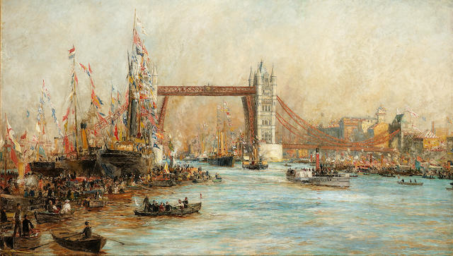 William Lionel Wyllie (British, 1851-1931) The Opening of Tower Bridge, 30th June 1894  78.7 x 134.6cm. (31 x 53in.)