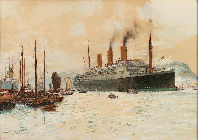"Charles Edward Dixon (British, 1872-1934) The Canadian Pacific liner ""Empress of Australia"" in Hong Kong Harbour 36.5 x 52.8cm. (14 3/8 x 20 3/4in.)"