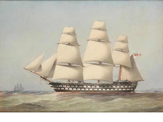 William Frederick Mitchell (British, 1845-1914) H.M.S. 'Trafalgar' 50.8 x 72.4cm. (20 x 28 1/2in.)