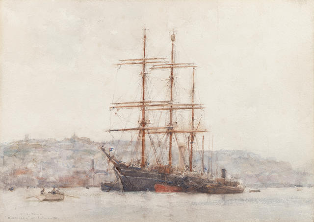 "Henry Scott Tuke (British, 1858-1929)  ""'Discovery' at Falmouth"" 24.8 x 35cm. (9 3/4 x 13 3/4in.)"
