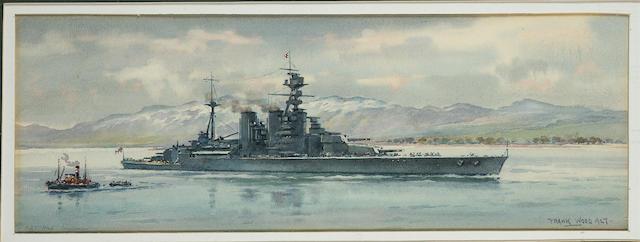 "Frank Watson Wood (British, 1862-1953) ""H.M.S. 'Hood'. Invergordon"" 12.7 x 36 cm. (5 x 14 1/8 in.)"