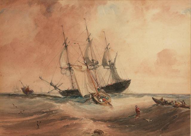 Samuel Owen (British, d.1857)  A French pilot cutter heading out to an arriving merchantman 19.5 x 27cm. (7 5/8 x 10 5/8in.)
