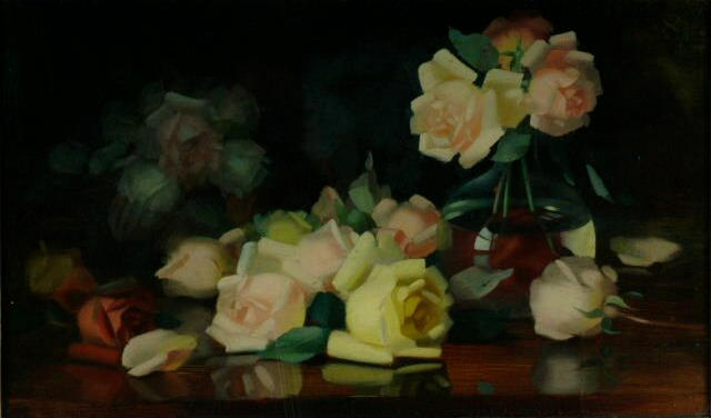 "James Stuart Park (1862-1933) ""Roses"" 45cm x 65cm (17.75in. x 25.5in.)"