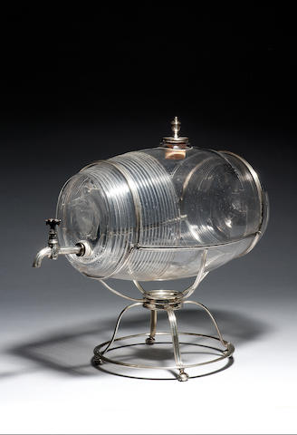 GLASS WINE FOUNTAIN,  Newcastle c.1800 Rare fountain in the form of glass barrel with wheel-engraved
